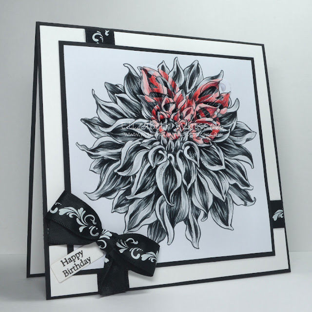 black and white, Elizabeth Whisson, Alshandra, butterfly, red, ribbon, copic, powerpoppy, dahlia, happy birthday