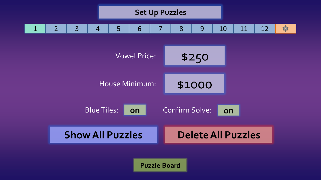 Wheel of Fortune for PowerPoint - Games by Tim WoFSettingsBeta2