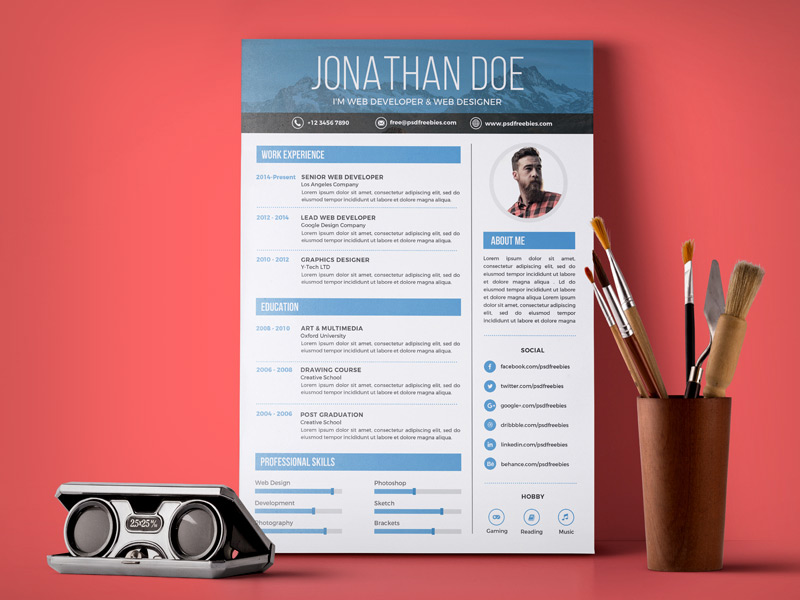 Free Clean CV Resume Templates To Download