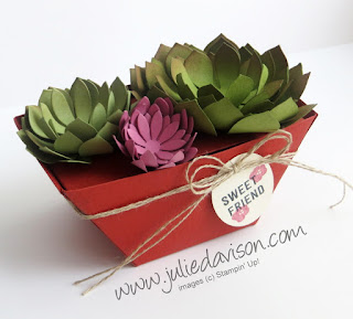 Stampin' Up! VIDEO: Window Box Project: Paper Succulent Garden Dish ~ www.juliedavison.com