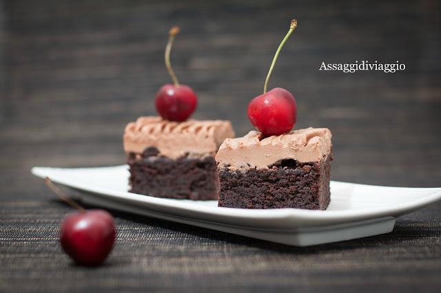 Brownies al cioccolato, ciliegie e Porto