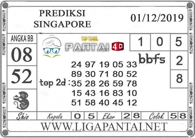 PREDIKSI TOGEL SINGAPORE PANTAI4D 01 DESEMBER 2019