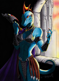 A hyper-sexualized illustration of a lizardfolk female. She has blue skin, a reptilian head complete with orange crest atop her skull, a long curled tail, and a body that in all other respects looks like a human body. She is wearing a chain mail bikini top and loincloth with bracers on her forearms, and is holding a bloody axe.