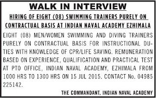 Indian Naval Academy, Ezhimala, WALK IN INTERVIEW FOR SWIMMER (WWW.TNGOVERNMENTJOBS.CO.IN)