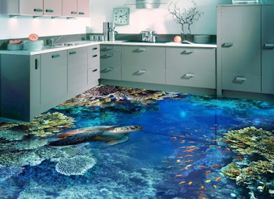 3D flooring art murals for modern kitchens 2018