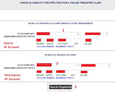 EPFO Eligibility to claim EPF Account Transfer Online