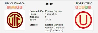 UTC Cajamarca vs Universitario en VIVO