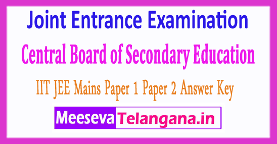 Joint Entrance Examination Central Board IIT CBSE JEE Mains Answer Key 2018 Download