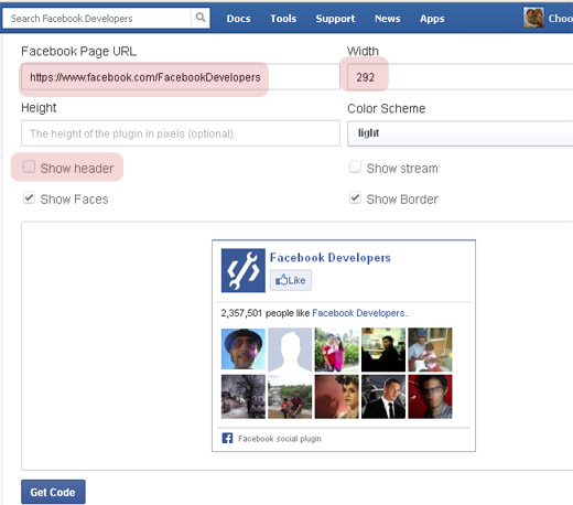 Facebook Like box from Developer App