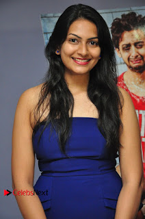 Swetha Verma Blue sleeveless shoulder less short tight dress at Wish You Happy Break Up Movie Premier Show