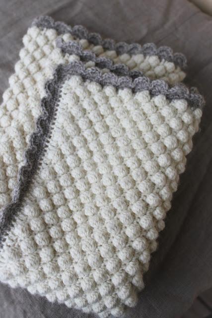 vauvan peitto, virkattu peitto, bobble stitch