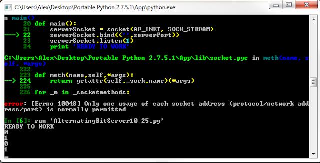 Python Alternating Bit Socket Programming Server and Client