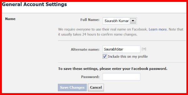 How to change your nickname on facebook