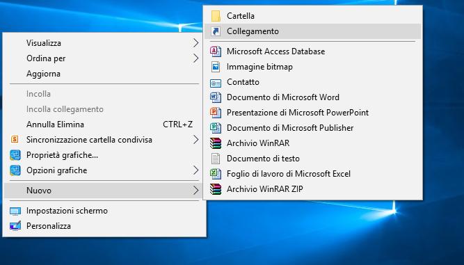 come creare collegamento in Windows 10