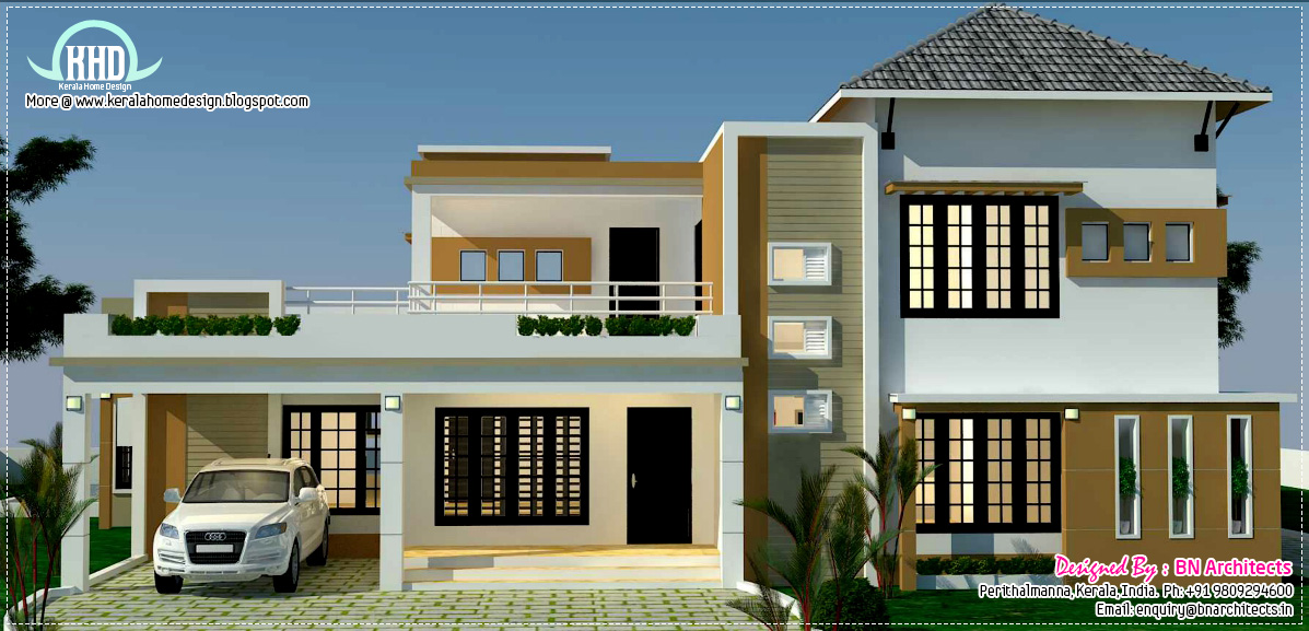 Floor plan 3d views and interiors of 4 bedroom villa for Indian small house design 2 bedroom