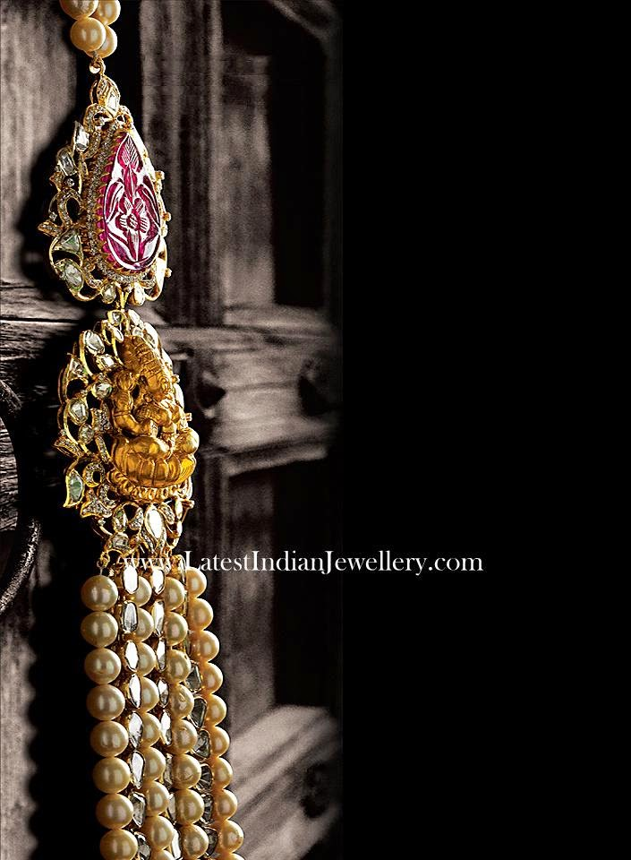 Lakshmi and ruby side pendant