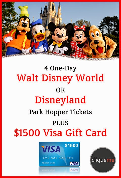 cliqueme disney park hopper tickets plus 1500 visa gift card giveaway skinnytaste. Black Bedroom Furniture Sets. Home Design Ideas