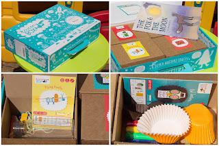 ToucanBox contents sample including a book and 4 activities. 2 activities shown