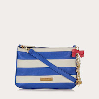 Floozie by Frost French Blue striped nautical charm cross body bag