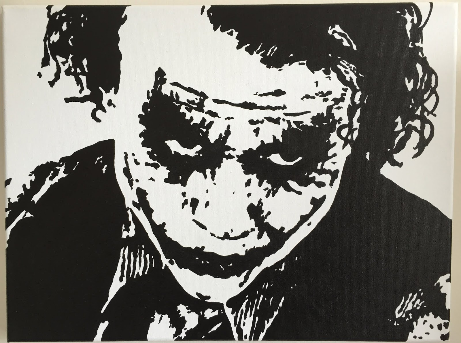 Hand painted pop art black white joker from batman heath ledger