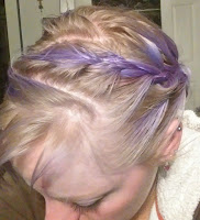 light blonde hair with bright purple zig-zag french braid purple toner review ash beige bleached hair