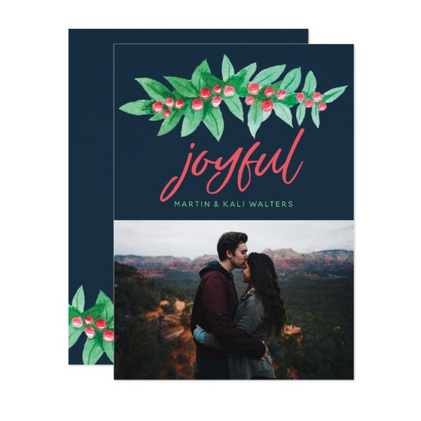 Holiday Berries Joyful Christmas Photo Cards by The Spotted Olive for Zazzle
