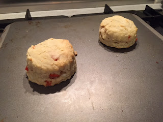 Red pepper, onion and cheese scone