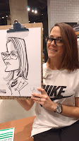 caricature of a girl wearing glasses