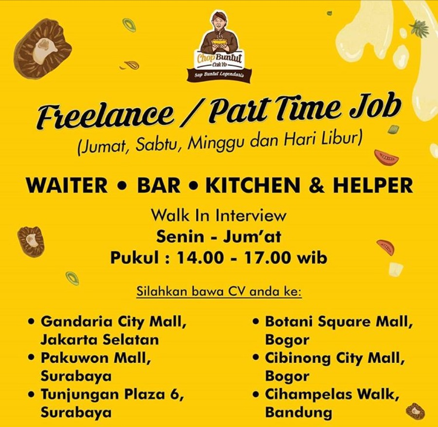 Walk In Interviw Lowongan Part Time Di Chop Buntut Cak Yo
