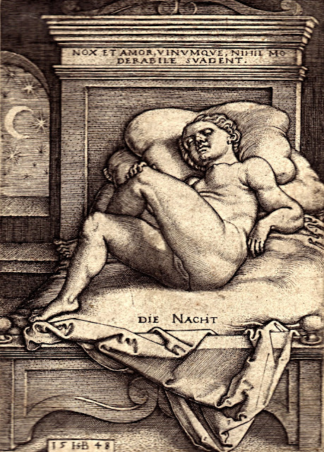 Sebald Beham - La notte - nudo femminile