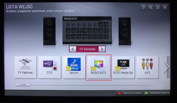 Serwer DLNA z NASa QNAP TS-251+ widoczny w telewizorze LG