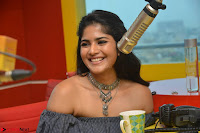 Mega Akash in a sleeveless Off Shoulder Cute Dress Stunnign beauty at Radio Mirchi Promoting Movie LIE ~ Celebrities Galleries 044.JPG