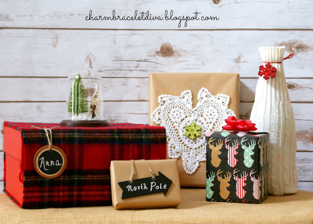Christmas gifts wrap tags bows