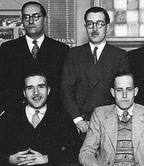 Los ajedrecistas Vallvé, Cherta, Maristany y Ribera