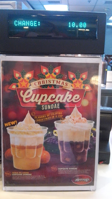 Manang's Christmas cupcake sundae! It is baked to order hence the warm cake underneath mingles with coolness of the sundae. Priced for only Php 49.