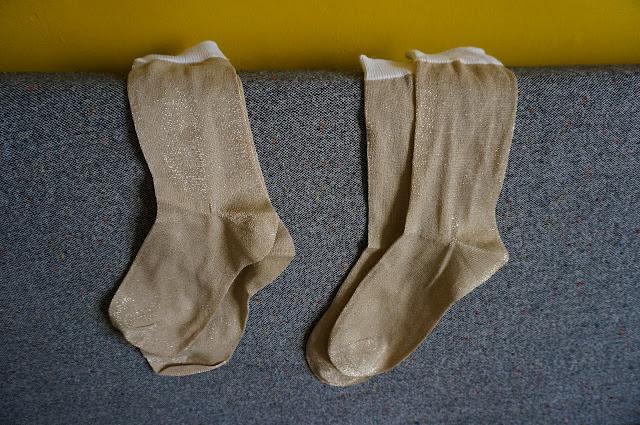 lurex golden sock chaussettes années 70 doré