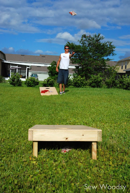Make a cornhoke, cornhold or cornhole. Otherwise known as bean bag toss.
