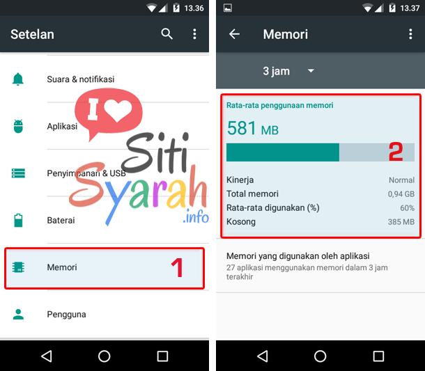 cara mengetahui sisa memori ram android tanpa aplikasi