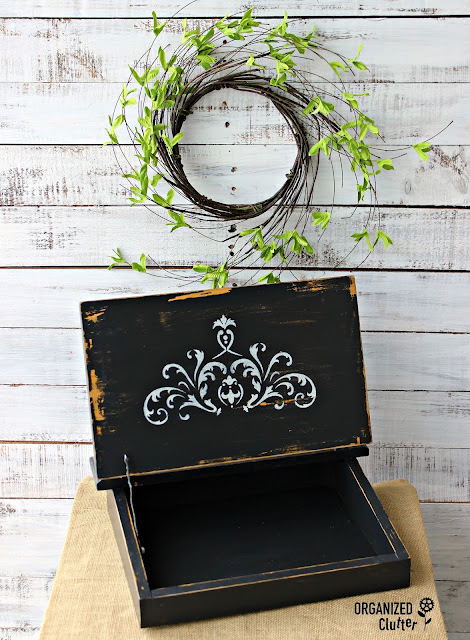 Upcycled & Repurposed Vintage Lap Desk #garagesalefind #stencil