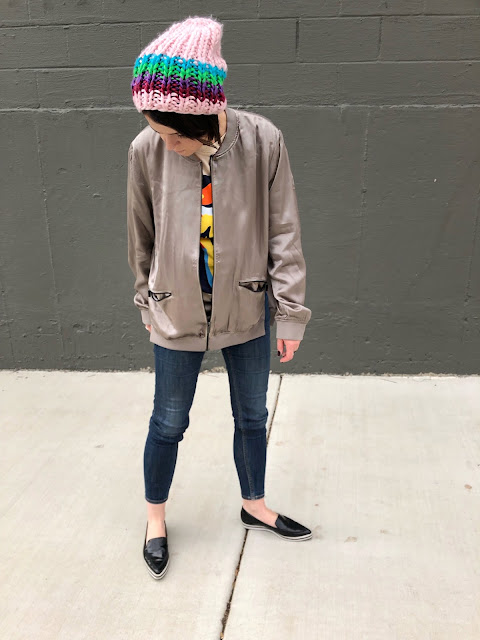Universal Standard bomber jacket + pops of color!