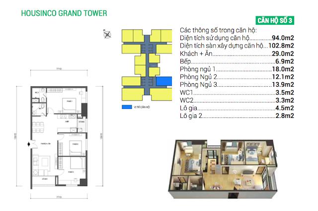 Thiết kế căn hộ số 03 Housinco Grand Tower