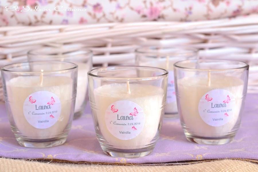 Detalles para comuniones velas aromaticas personalizadas