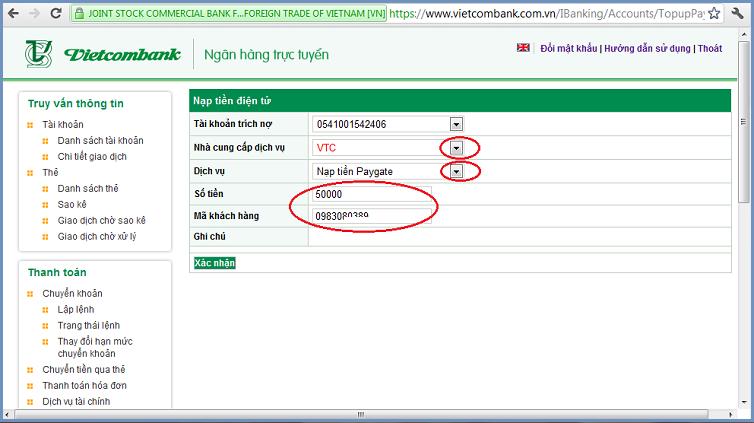 Chọn nhà cung cấp: VTC
