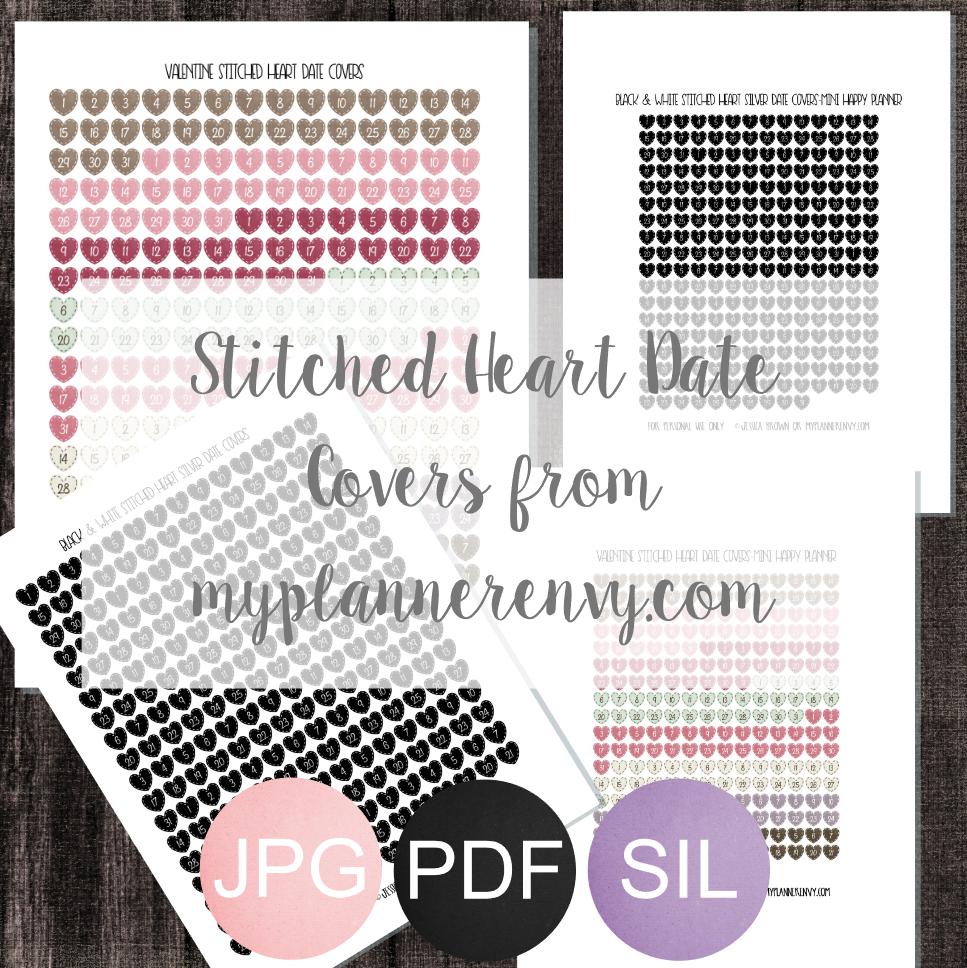 Stitched Heart Date Covers - Free Planner Printable   My Planner Envy
