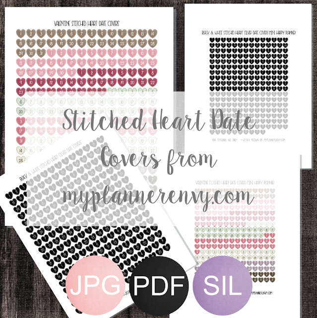 Free Planner Printable Stitched Heart Date Covers from myplannerenvy.com