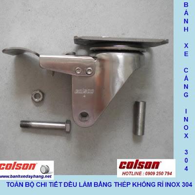 Kích thước Bánh xe cao su 125x32mm càng inox 304 Colson không xoay | 2-5408-444 banhxedaycolson.com sử dụng ổ nhựa