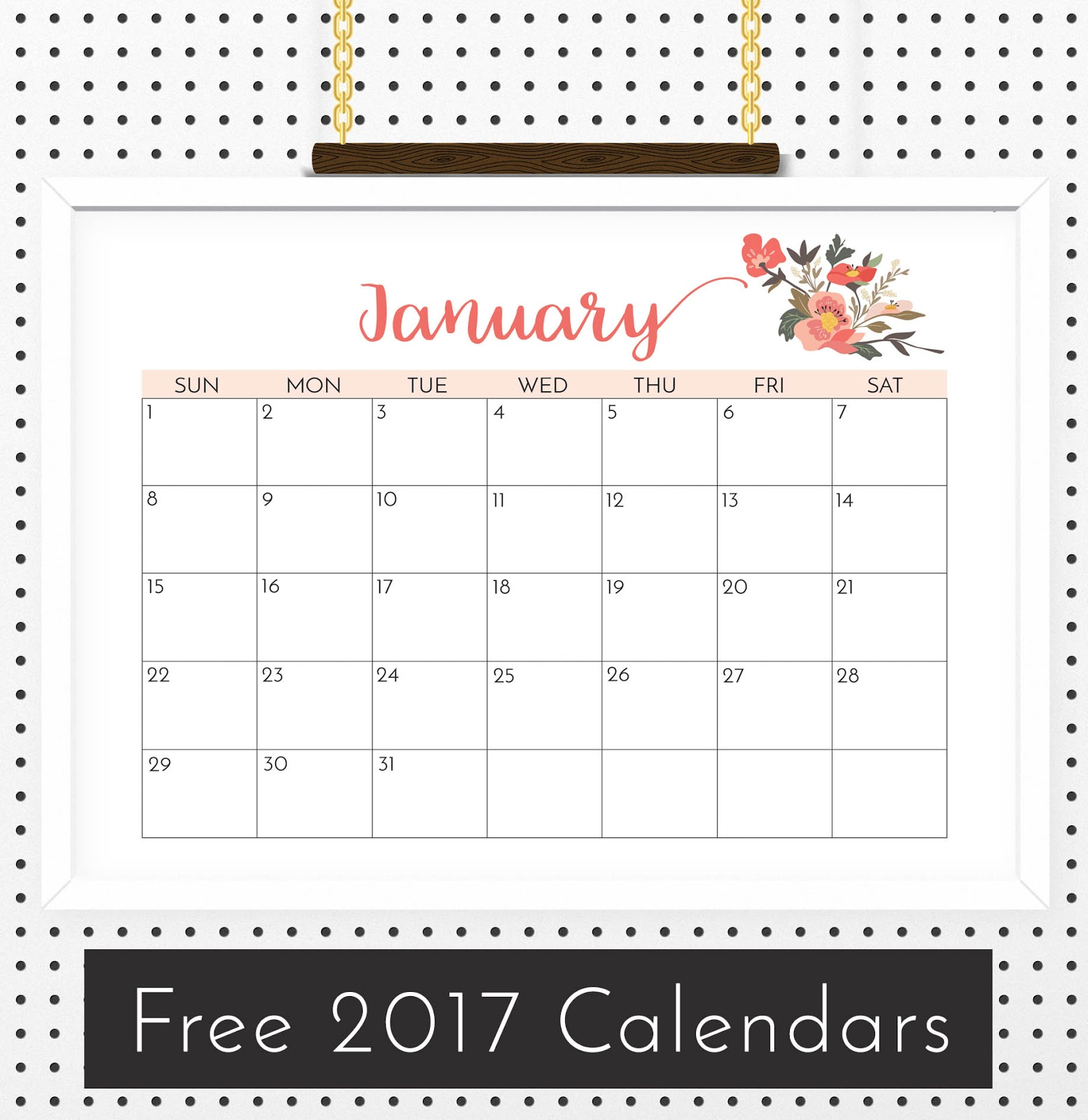 Free Floral Calendar 2017   Crafting in the Rain