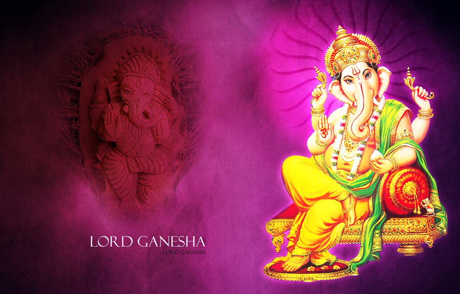 Wallpaper Ganesh ji sitting on his Throne!