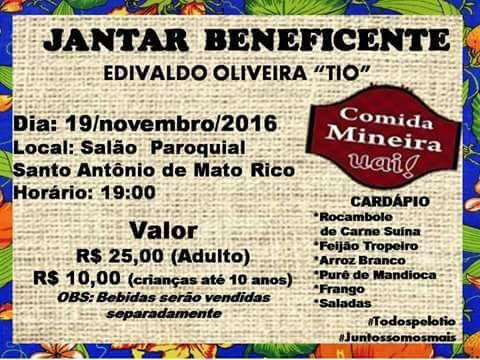 Convite para jantar beneficente em Mato Rico (Vamos Ajudar o Tio)