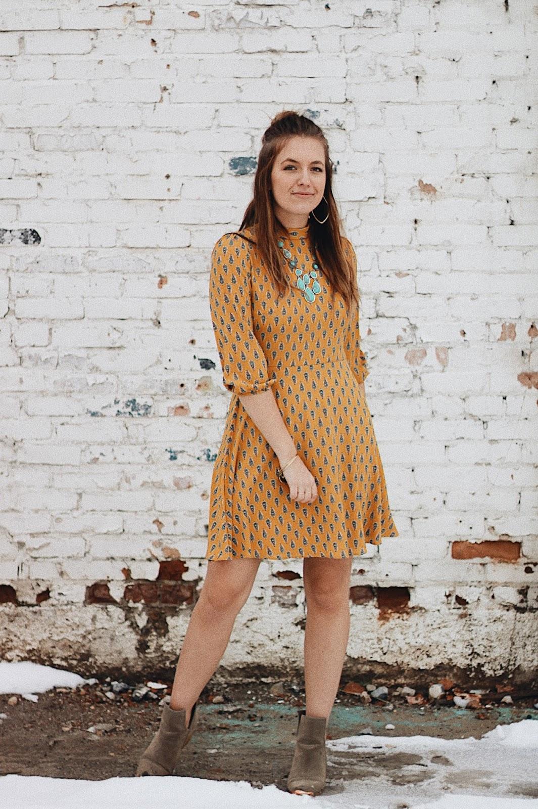 pretty mustard modest dress